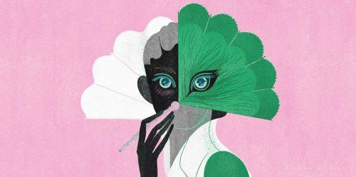 illustration - woman holding fan, pink background