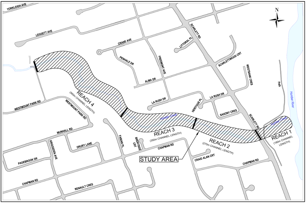Map of the study area, which encompasses the Humber Creek