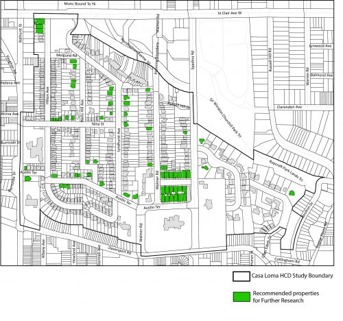 This is a map of properties within the Casa Loma HCD Study Area that are being recommended for further research