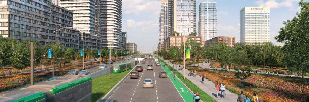 Artist concept showing Eglinton Avene East looking east. Streetscape consists of bike lanes, transit, cars. Park and ravine to the south, with pedestrians walking on wide sidewalks. Towers in the distance.