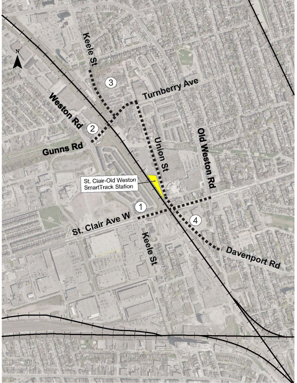 Map of recommended improvements, showing widening of St. Clair, Gunns Road Extension, Keele Street Extension, Extensin of Davenport to Union Street.