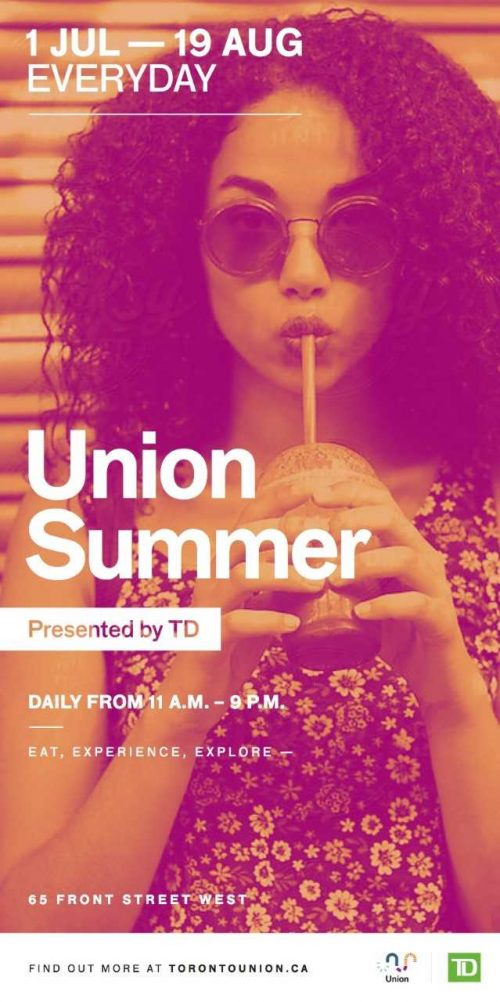 Union Summer artwork - woman with sunglasses, drinking through straw