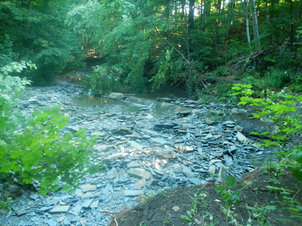 Humber Creek with rocks and other debris inside leading to erosion problems