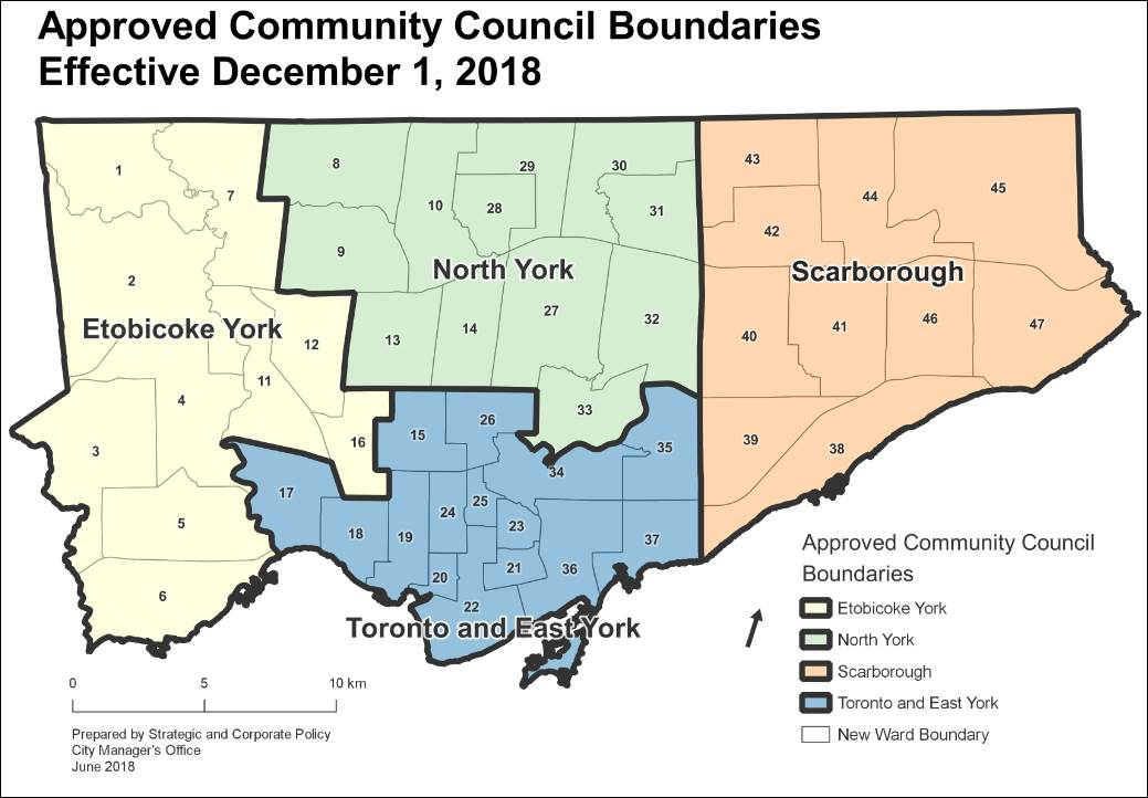 A map of the City of Toronto's new Community Council boundaries approved by City Council on June 26, 2018, to be implemented on December 1, 2018.