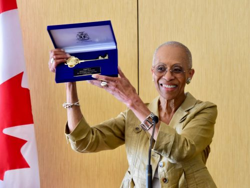 Zanana Akande with her Key to the City