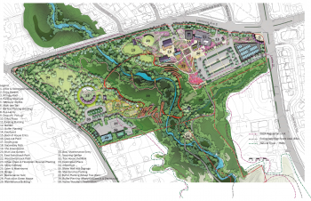 This map shows Edwards Gardens with pathways, buildings and landscaping