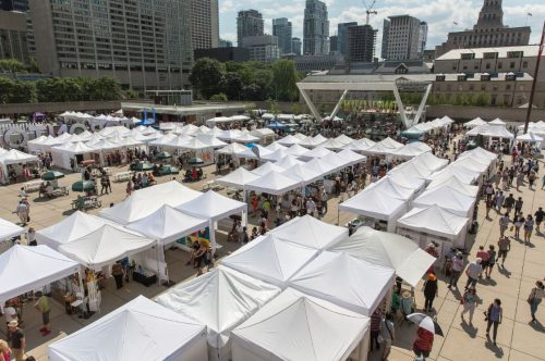 Tents, attenddes, art fair, Nathan Phillips Square