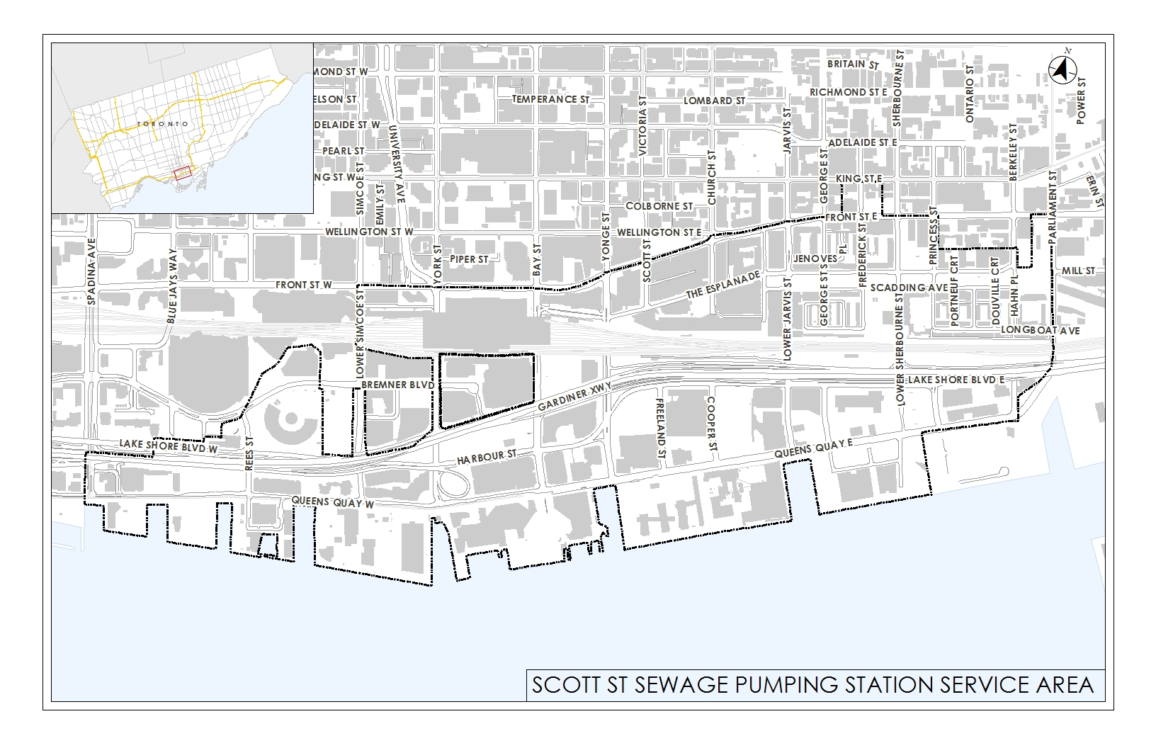 This map outlines the Scott Street Sewage Pumping Station Service Area. The map extends to Spadina Ave., Parliament Street, Front Street and the Lake.