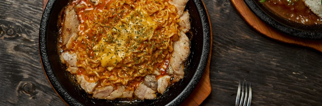 Flaming Kitchen's Spicy noodle and black curry pork cutlet with rice