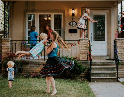 people dancing in yard