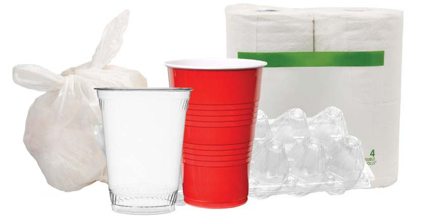 Assorted plastics and plastic wrapping