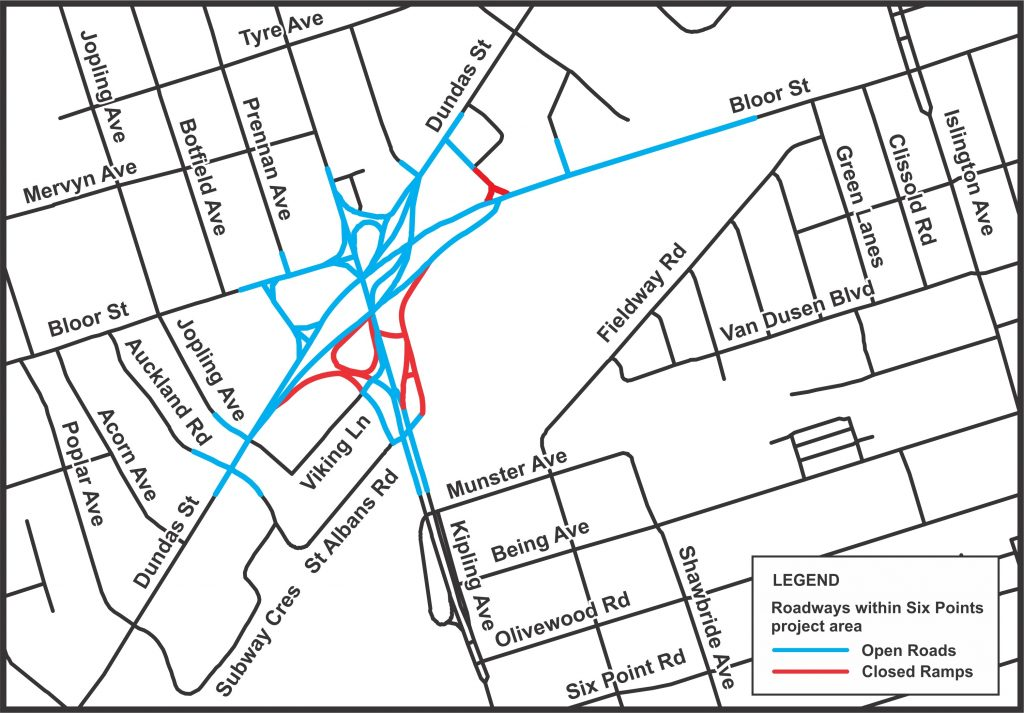 Map of open and closed roadways in the Six Points Reconstruction.