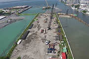 Construction on a piece of land in a Toronto harbour in Lake Ontario