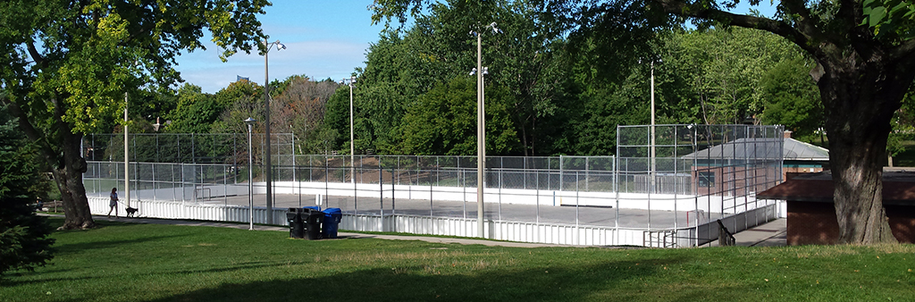 The Withrow Park rink in the summer