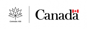 The government of Canada's Canada 150 logo with a graphic of a stylized maple leaf