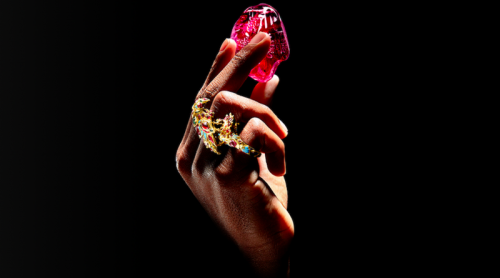 hand with rings holding a red jem