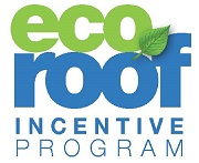 Eco Roof Incentive Program logo in green and blue with a small leaf