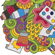 A colourful graphic depiction of various art supplies