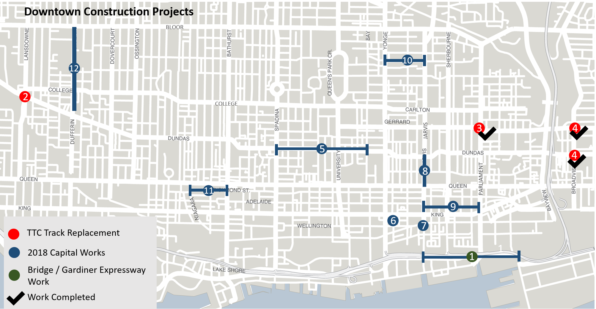 This shows the construction projects happening in Ward 27 and Ward 28 - in central downtown Toronto. There are 12 different projects happening.