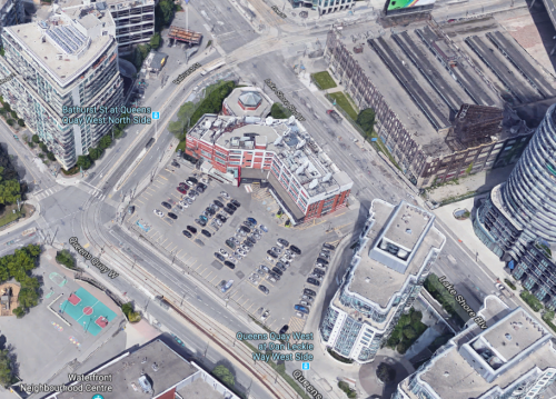 aerial view of building complex at 545 Lakeshore Boulevard West