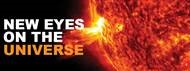 New Eyes on the Universe wordmark - fiery surface of the sun.