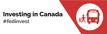 "This is the logo of the Government of Canada Public Transit Infrastructure Fund (PTIF) and reads ""Investing in Canada"" with a graphic of people boarding a bus.."