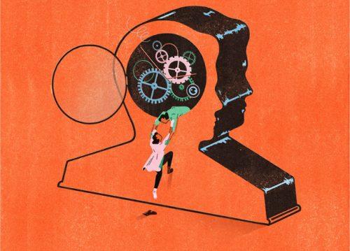 illustration. Orange background - outline of head, clockworks inside, people climbing in.