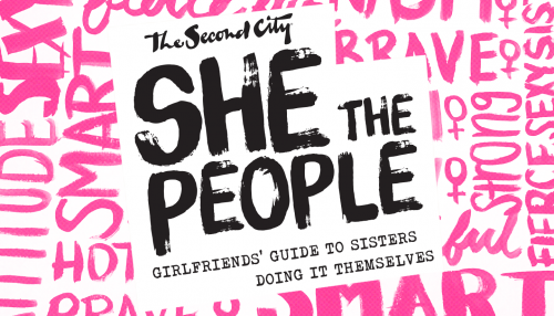 She The People wordmark - surrounded by pink text.