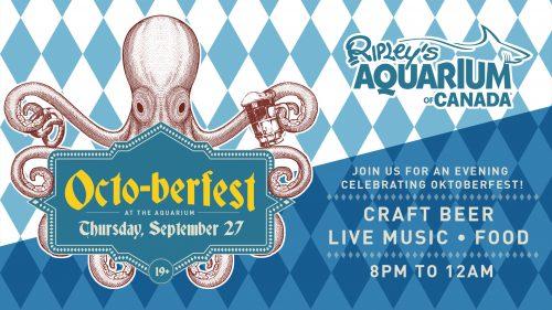 Octopus holding Octoberfest wordmark. Blue background