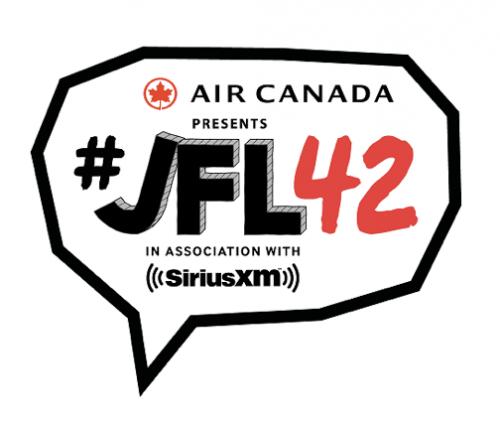 #jfl42 wordmark in a speech bubble - logo