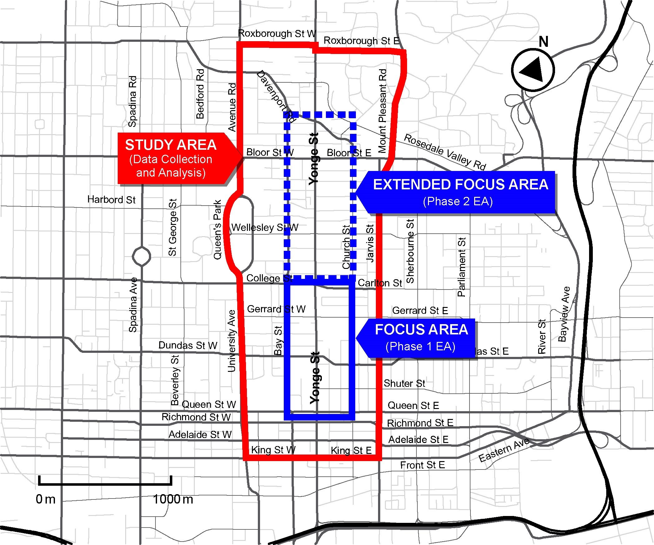 Phase 1 is from Queen St to College St, Phase 2 is from College St to Davenport