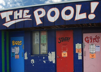 The boys and girls vibrant change room doors at a community pool