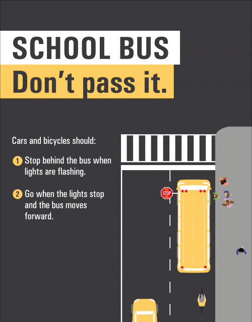School Bus: Don't pass it. Cars and bicycles should: Stop behind the bus when lights are flashing. Go when the lights stop and the bus moves forward.