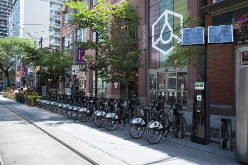 Bike Share Station with many bikes docked