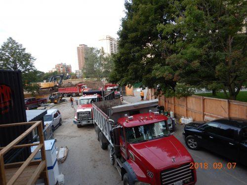 trucks inside Rosehill Main Access