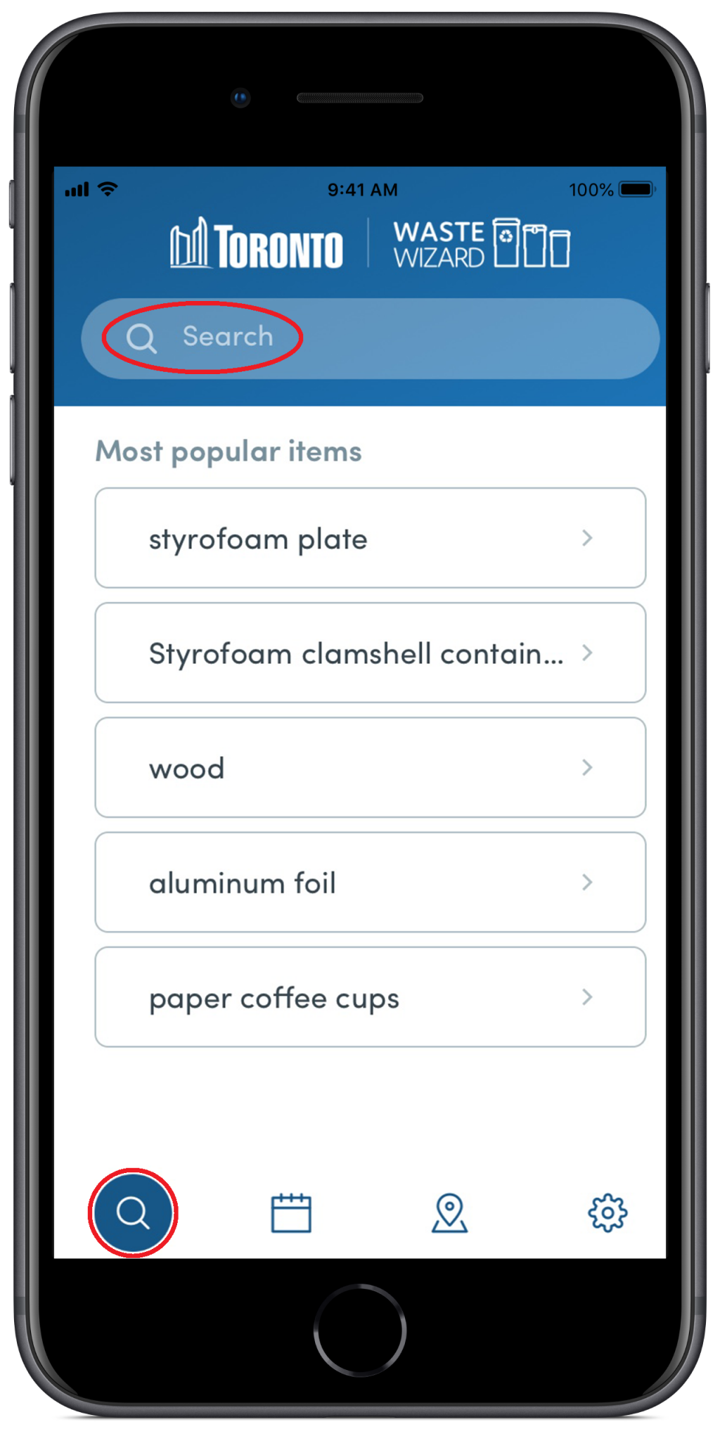 Waste Wizard app page displaying the most popular items and a search field. Red circles highlight the search field and icon that corresponds to the Waste Wizard section of the app.