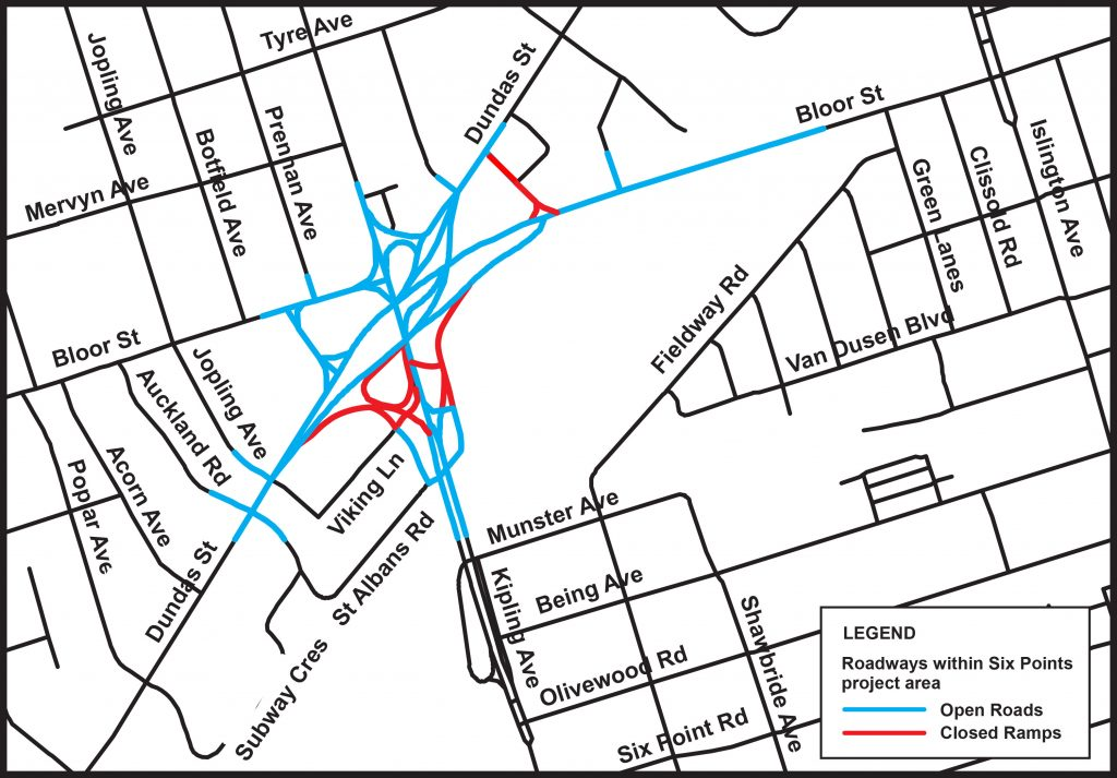 Map of open and closed roads, Six Points Interchange Reconfiguration