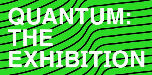 Wordmark, Quantum - the exhibition - green background, black wavy lines