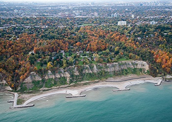 arial view of Scarborough waterfront in the fall