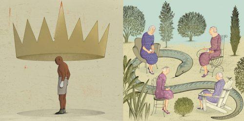 illustrations - man with large crown. 3 women, snake, garden.