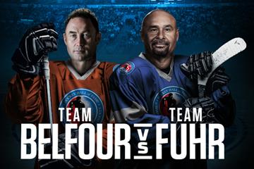 Team Belfour vs Team Fuhr - wordmark. 2 men, hockey uniforms, sticks