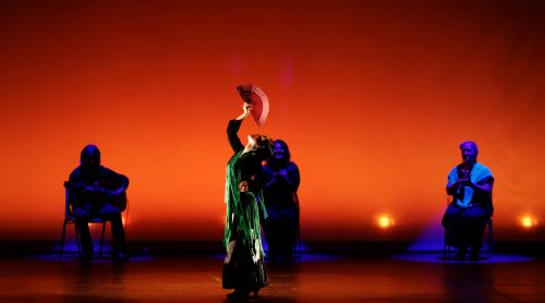 flamenco dancers. orange background