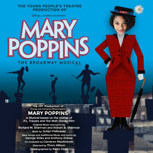 Mary Poppins show poster - woman, red dress, umbrella, hat.