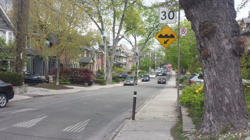 Image of a Toronto street with speed humps