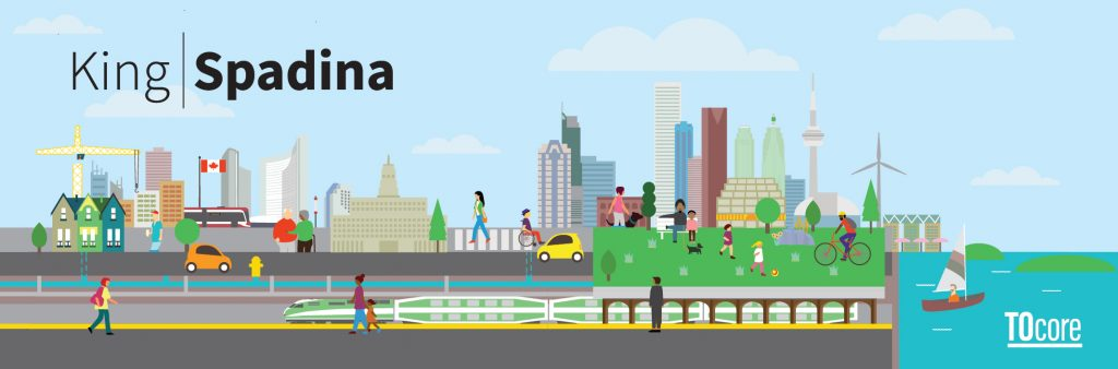 King Spadina and TOcore graphic with cityscape