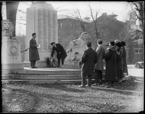 Italians laying wreath at Sons of England Memorial, University Avenue and Elm Street