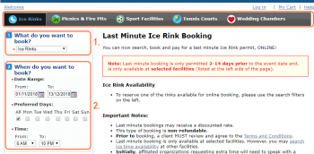 This screenshot shows the screen in which a user will interact with while choosing a space to book. Areas are highlighted and numbered to correspond with the list in step 2: narrow down your choices