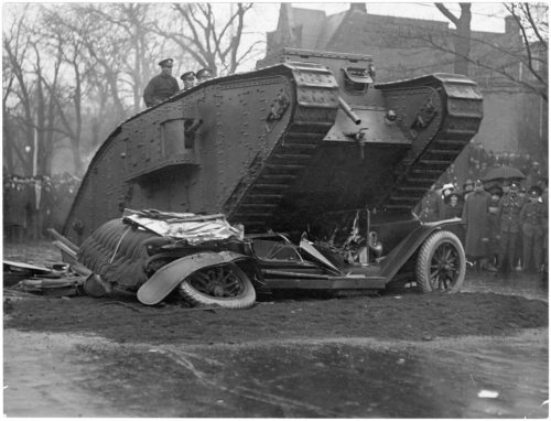 Tank crushing car in Victory Bond drive, University Avenue