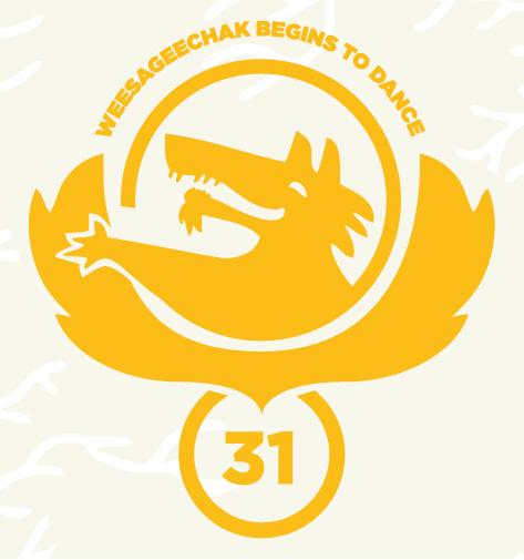 Yellow artwork for Weesageechak Begins to Dance