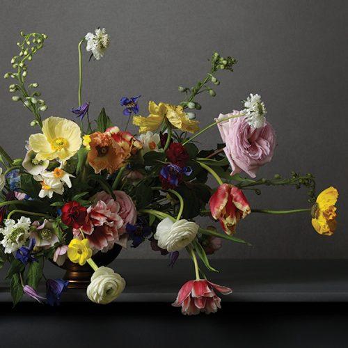 flower arrangement. Multi coloured - grey background